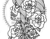 Digital Download Print Your Own Coloring Book Outline Page - Sugar Skull Girl Tattoo Flash by Carissa Rose