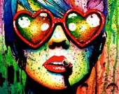 Art Print Punk Rock Pop Art Rainbow Splatter Portrait - Electric Wasteland by Carissa Rose - NeverDieArt