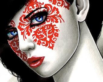 Portrait Signed Art Print -The Impostor 2 by Carissa Rose Art Print - Damask Lowbrow Dark Art Girl Portrait Outsider Art
