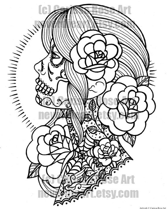 Digital download print your own coloring book outline page - Mexikanische totenmaske name ...