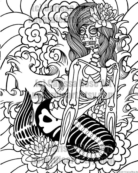 digital download print your own coloring book outline page sirens song mermaid by carissa rose - Print Your Own Coloring Book