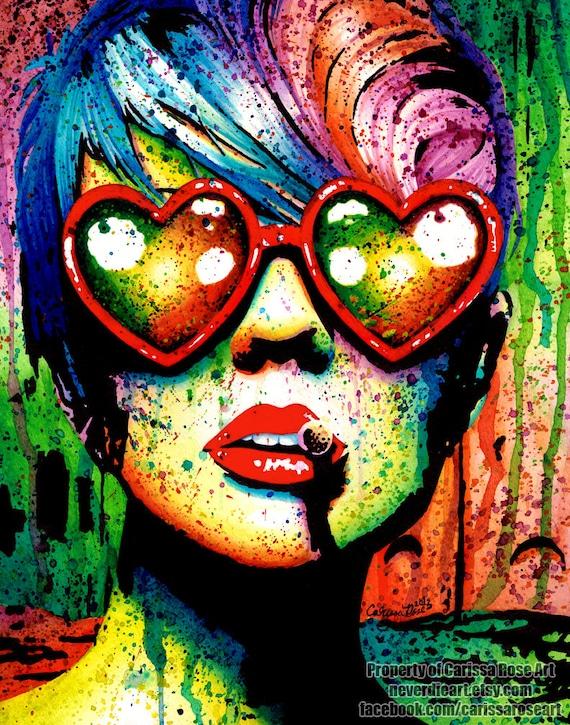 signed art print punk rock pop art rainbow splatter by neverdieart. Black Bedroom Furniture Sets. Home Design Ideas