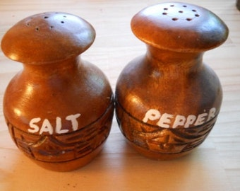 Carved Wood Salt and Pepper Shakers - Vintage, Collectible