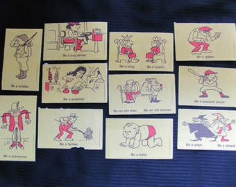 Vintage Illustrated Picture Flash Cards Lot of 11 - Be a .......