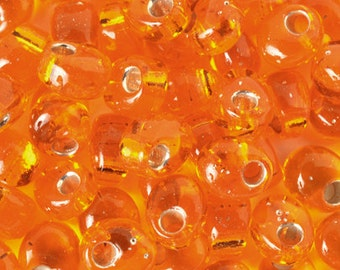 Seed Beads-4mm Magatama-8 Silver Lined Orange-Miyuki-7 Grams
