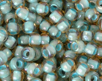 Seed Beads-6/0 Round-952 Inside Color Rainbow Lt Topaz Sea Foam Lined-Toho-16 Grams
