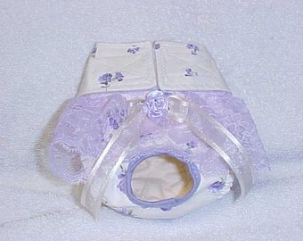 Female Dog Diaper Panties Skirt Pet Wrap Britches Size XSmall To Medium Lavender Roses Daisies Fabric