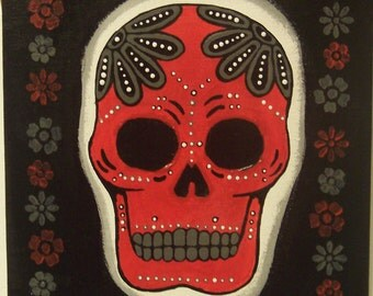 Original Painting Canvas A: red, black, and gray Dia de los Muertos (Day of the Dead) skull on canvas.