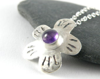 Ultra Violet Necklace February Birthstone, Amethyst Necklace, Sterling Silver Necklace, Flower Necklace Gift For Girlfriend Purple Amethyst