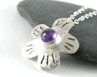 Amethyst Necklace, Sterling Silver Necklace Spring Blossom, Flower Necklace Gift For Girlfriend, Gift For Women Purple Amethyst Jewelry