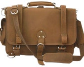 USA Made! Messenger Bag Leather Briefcase Backpack LARGE - Cognac Distressed, Rugged