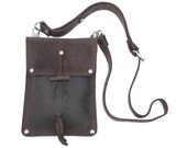 Leather Shoulder Pouch Satchel, Man Bag, Purse, iPad Mini Case - Rich Chocolate Brown
