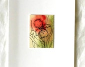 Floral Iris note card original abstract watercolor art OOAK pen and ink blank all occasion stationery red green