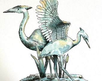 "Heron crane teal watercolor original 7"" x 8"" art pen and ink bird art wildlife illlustration animal blue"