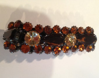 SALE. Vintage bracelet smokey orange rhinestones