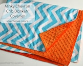 "CLEARANCE! Chevron Minky Double-Sided Crib Blanket/ Coverlet 30""x45""- You CHOOSE COLORS"