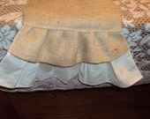 Rustic Burlap - Antique White and Burlap ruffles Dresser / Table Runner  -Custom made to Your Size and quantity