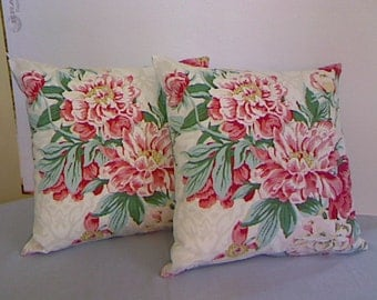 Throw Pillow Cover / Handmade /  Designer Floral Fabric / Pink Peonies / Cottage Chic / Two Available