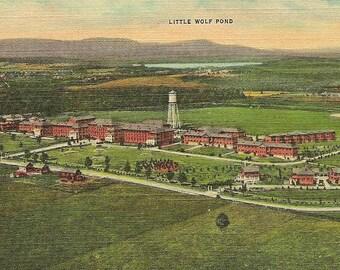 Veterans Hospital at Tupper Lake New York in the Adirondack Mountains  vintage unused  linen postcard