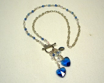 Blue Crystal Heart Beaded Necklace