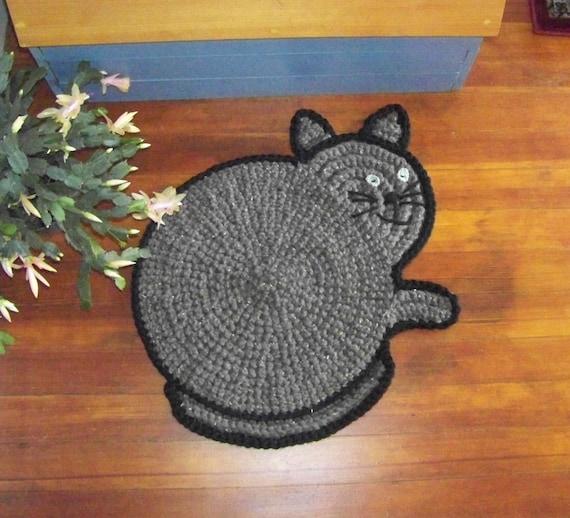 Hand Crocheted Cat Rug
