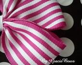 Raspberry Pink and White Stripes Large Pinwheel Bow