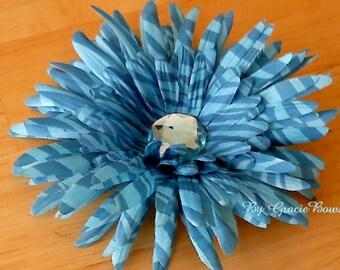 Large Blue Zebra Print Gerbera Daisy Hairclip