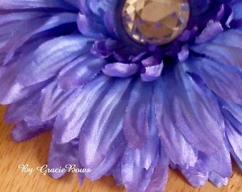 Large Purple Bling Gerbera Daisy Hair Clip