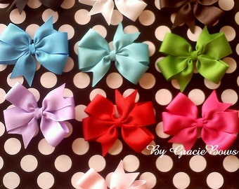 Solid or Hearts Medium Pinwheel Bow- You Choose the Color