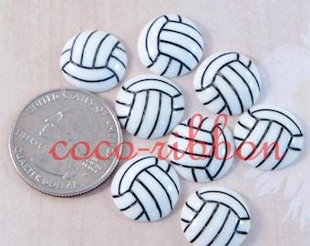 15mm 12~24pcs Volleyball Sport Ball Cheer Flatback Resin Cabochons (C30)
