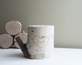 personalized natural white birch wood candle holder - carved heart & initials, wedding gift, anniversary gift, romantic gift