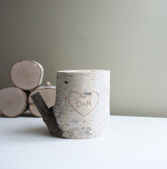 Personalized White Birch Wood Candle Holder - carved heart & initials, anniversary gift, 5 years anniversary gift, rustic candle holder