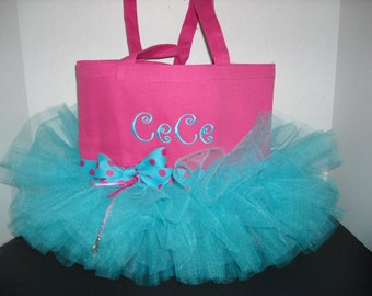 Personalized Tutu Tote Bag - Personalized  Choose your colors