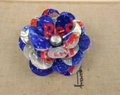 Redbull Rose Brooch/Pin.  Recycled Soda Can Art.  RedBull