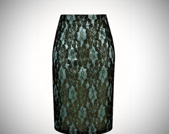 High waist pencil skirt, double layered LACE over satin crepe, Made to order , high fashion ,plus sizes