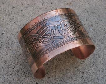 Celtic Etched Copper Cuff