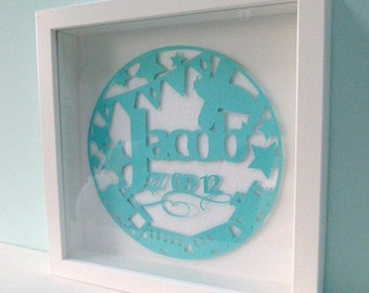 Boy baby paper cut personalised name and birth date