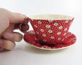 Textile Teacup Tidy-Red Floral Dots