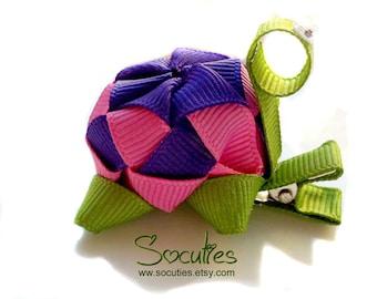 Turtle Ribbon sculpture hairclip / girl hair clip / girl barrette.