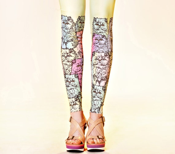 Yellow-lime leggings with neon grumpy cats