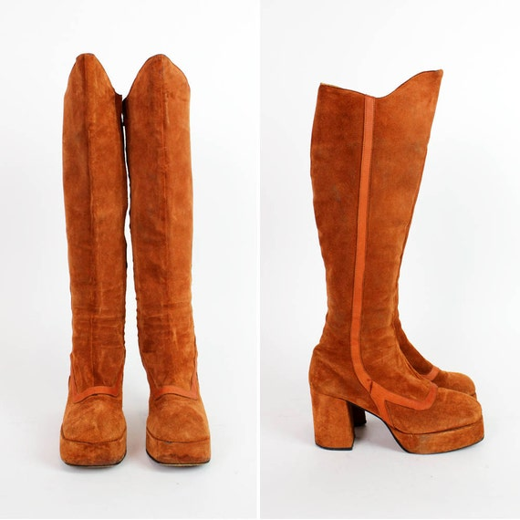 platform boots 7.5 | Olof Daughters rust suede 1970s disco boots