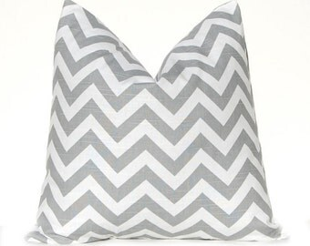 Chevron Decorative Throw Pillow Covers 18 Inches - Gray on White Zig Zag Chevron Decorative Throw Pillow Covers