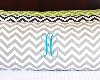 Body Pillow Cover, 20 x 54, Decorative Throw Pillow Cover, Body Pillowcase, Bolster Pillow, Chevron Pillows With or Without Monogram