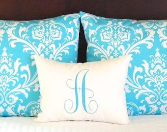 Turquoise Pillow Shams, Turquoise Bedding, Dorm Decor, Turquoise Shams with Monogram Pillow