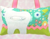 Tooth Fairy Pillow- In Riley Blake Apple of My Eye in Blue Main Floral
