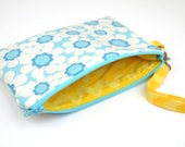 Zipper Pouch, Coin Purse, Card Case, Clutch in Blue Daisy with Yellow Chevron