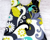 Pinafore REVERSIBLE in Oopsie Daisy Lime and Charcoal Daisy Doodle Dandy by Michael Miller