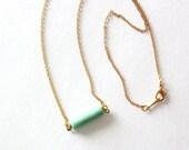 Minimalist Bar Necklace. Chrysoprase Semi Precious Stone on Gold Plated chain