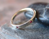 Ruby Wedding Band Sterling Silver Stacking Ring