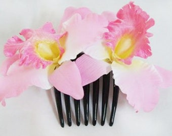 Pink Orchid flower Hair Comb Wedding